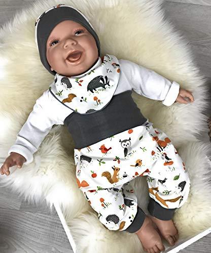 Baby Set 56 62 68 74 Hose, Mütze und Dreieckstuch, Erstausstattung, new born set,Mädchen Pumphose,Waldtiere weiß