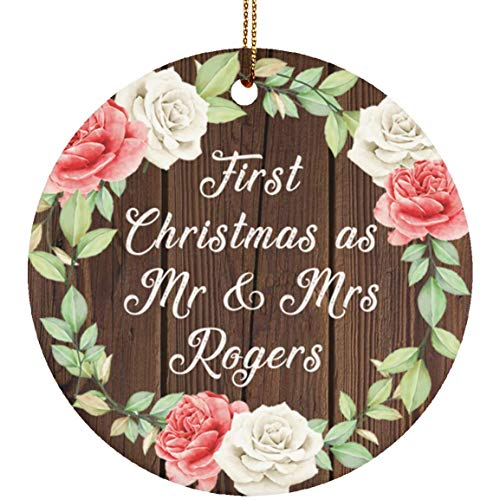 First Christmas As Mr & Mrs Rogers - Circle Wood Ornament A Xmas Christmas Tree Hanging Holiday Decor-ation Keepsake - for Wife Husband GF BF Wo-men Her Him Wedding Birthday Anniversary