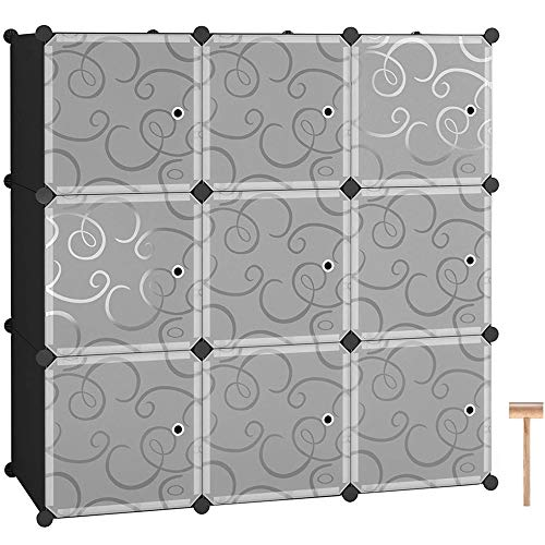 EBLSE Cube Storage, Closet Organizer Storage, Shelves Cubes Organizer DIY Closet Cabinet with Doors, Plastic Dresser Storage Cubes, Modular Bookshelf Units, Cube Storage Bins (9 Cube)