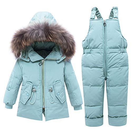 SXSHUN Combinaison de Neige Bébé Fille Garçon Doudoune à Capuche Enfant Ensemble de Ski Manteau de Duvet Hiver Veste Snowsuit 2PCS 1-3 Ans, Bleu Clair, 2 Ans / 90