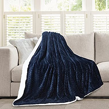 Micromink Flannel Throw Blanket, Reverses to Sherpa, Fuzzy Mink Cozy Warm Fluffy Velvety Home Fashion (60  x 80 ) Navy