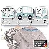 mint-grüne Dreamcars G11 Kindergarderobe mit 4 Haken, Maße ca.: 40 x 15 x 1 cm, Wandgarderobe, Kleiderhaken, Wandhaken, Kindermöbel, Garderobenhaken, Kinderzimmer