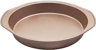 ZHEYANG Moule à gâteau rond en acier résistant 22,9 cm avec revêtement anti-adhésif pour gâteau, pain, fruits, tarte Doré