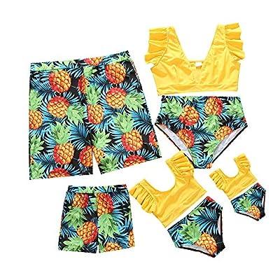 Matching Family Swimsuits Family Matching Swimwear Two Piece Bikini Newest Printed Ruffles Mom and Me Matching Bathing Suits (Yellow-Baby, 18-24 Months)