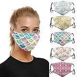 Lulupi 5 Stück Mundschutz Multifunktionstuch 3D Druck Bandana Maske Waschbar Wiederverwendbar Stoffmaske Baumwolle Mund-Nasen Bedeckung Verstellbar Atmungsaktiv Halstuch Schals für Herren Damen