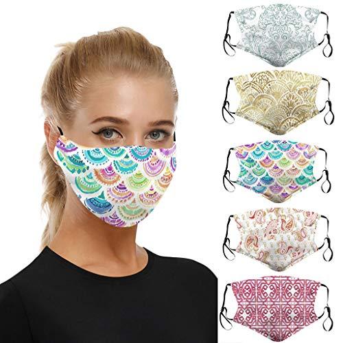 riou 5 Stücke Mundschutz mit Motiv Waschbar Baumwolle Atmungsaktive Staubdicht Mund und Nasenschutz Face Covering für Damen Herren (N)