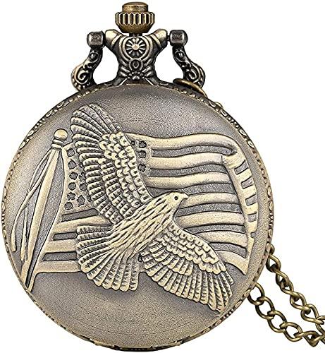DNGDD Reloj de Bolsillo Reloj de Bolsillo Vintage para Hombre, Reloj de Bolsillo de Cuarzo con Paloma de la Paz de Bronce para Hombre, práctico Reloj Colgante con Cadena de Serpiente para Homb