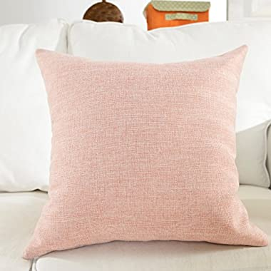 HOME BRILLIANT Decorative Lined Linen Euro Pillow Cover Cushion Case for Floor, 20 x20 , Baby Pink