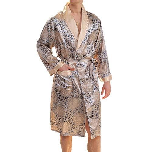 Ligh Weight Elegant zomer zijde pyjama's mannen badjas knielange Fashion Completi ochtendjas lange mouwen nacht warmte sche