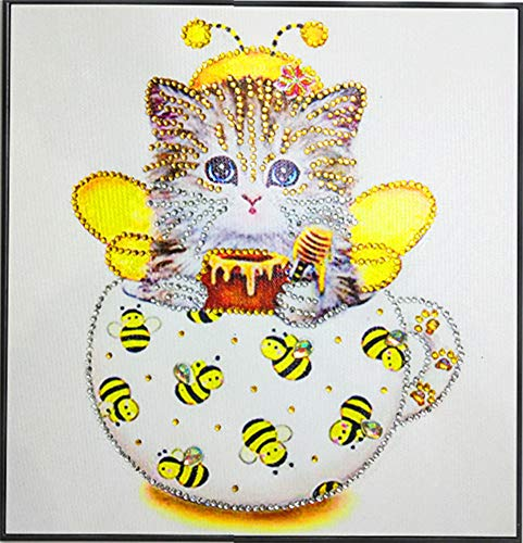 Diamond Painting DIY 5D Special Shape Rhinestones, ABEUTY a Yellow Kitten Cat in The Cup and Bees, Partial Drill Crystal Diamond Art Kits