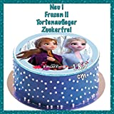 Unbekannt Tortenaufleger Geburtstag Frozen, ELSA und Anna,Zuckerfreie Tortendeko