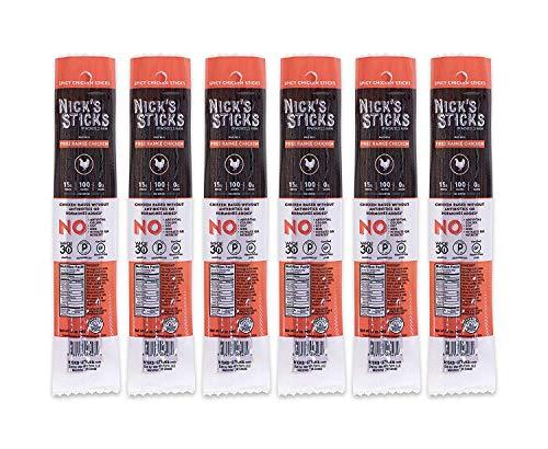 Nicks Sticks   Spicy Free Range Chicken Snack Sticks   Made in the USA   Gluten Free   Paleo, Keto, Whole30 Approved   No Sugar, Soy, Antibiotics or Hormones (6