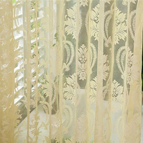 Eastery Heimtextilien Blume Bestickt Chinesischen 3D Fenster Vorhänge Stoff Tulle Einfacher Stil Schiere Schlafzimmer Wohnzimmer Küche (Color : Beige A, Size : (Lxb):200X95Cm)