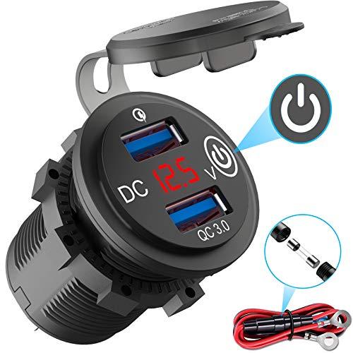 QC 3.0 USB Steckdose 12V Auto mit Schalter, KFZ Ladegerät USB Einbau Buchse Wasserdicht Zigarettenanzünder Dose mit rot LED Voltmeter Batterie Spannungsanzeige 36W für Motorrad Boot LKW Wohnwagen