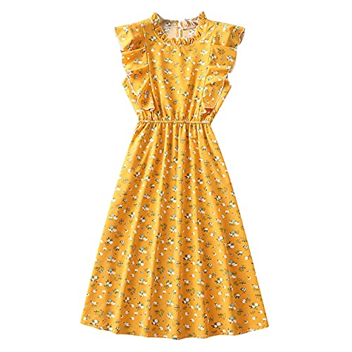 MoKFE Cute Floral Dress for Women,Summer Casual V-Neck Short Sleeve Ruffle Elastic Waist Beach Mini Dresses Yellow
