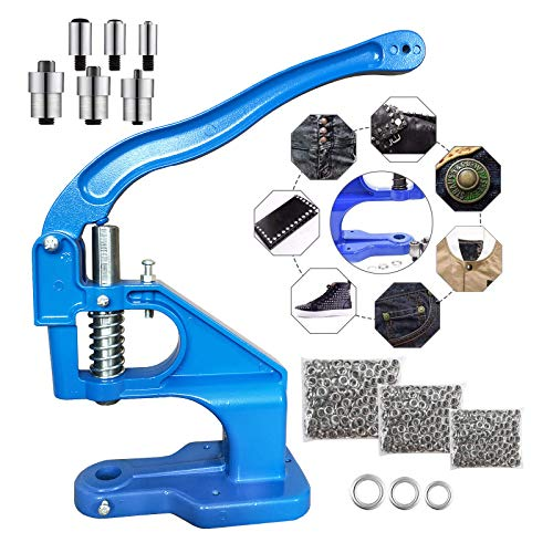 Hand Press Grommet Machine,Grommet Eyelet Tool Kit with 3 Dies(#0/#2/#4) and 1500pcs Grommets 6/10/12mm for Grommets Snap Buttons Rivets Eyelets Pearls