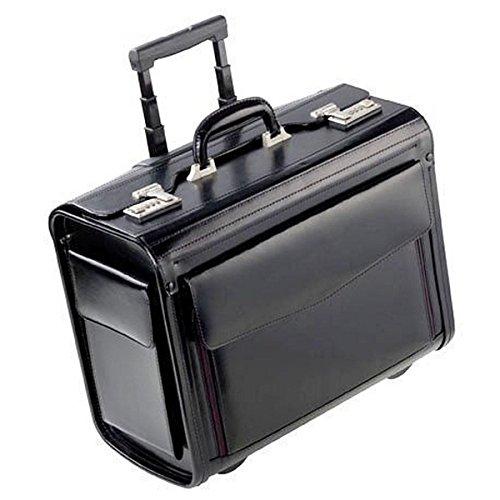 Dermata Piloten-Koffer Schwarz aus Leder mit Rollen, Reise-Trolley als Handgepäck mit Laptopfach, Zahlenschloss, Teleskop-Griff, Aktenkoffer, Board-Case