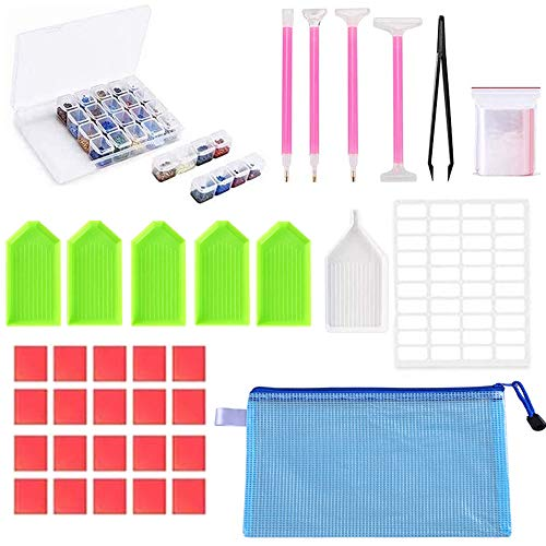 43 Pieces Diamond Painting Accessories - Art Tools with 28 Grids Storage Box for Adults | Kids Kits - Apply to 5D Diamonds Full Drill Beginner