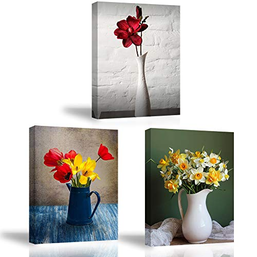 PIY Painting 3x Cuadro Sobre Lienzo Imagen Flores de Tulipanes Impresión en Lienzo Flores Jonquille Pinturas Murales Decor Dibujo con Marco para Sala de Estar Regalo de Festival 30x40cm