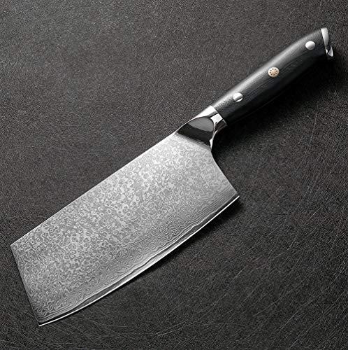 Cuchillo del cocinero Damasco cuchillo de 7 pulgadas Profesional cocinero cuchillo de carnicero 67 Las capas de acero de Damasco del cuchillo de cocina de la manija G10 Cleaver Santoku