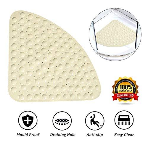 KaiKai Quadrant douchemat Non Slip Corner badmat rubber gebogen douchematten met afvoergat badmat voor douche of bad 54 x 54 cm
