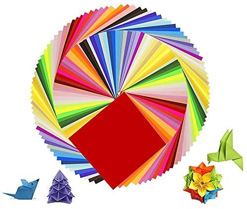XH-RAIN Papel de Origami de Colores, 200 Hojas Papel de Color de Doble Cara 20 Colores Surtidos Para Proyectos de Artes y Oficios