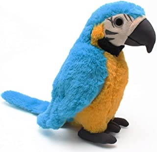 Levenkeness Macaw Parrot Plush, Blue Bird Stuffed Animal Plush Toy Doll Gifts for Kids 9.8