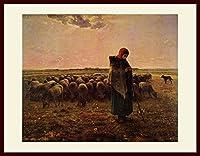 ミレー・「羊飼いの少女」 プリキャンバス複製画・ 額付き(デッサン額/大衣サイズ/セピア色)