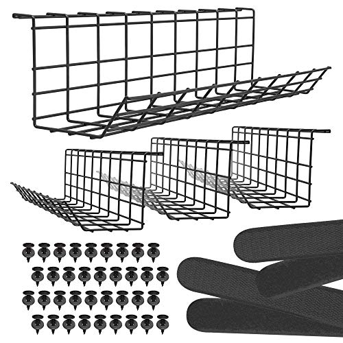 Kabelkanal Schreibtisch – Super Stabiler Tisch Kabelhalter für Kabelordnung. Metallene Kabelwanne Unter Schreibtisch (Schwarz Schreibtisch Kabelmanagement– Set von 4x 43cm)