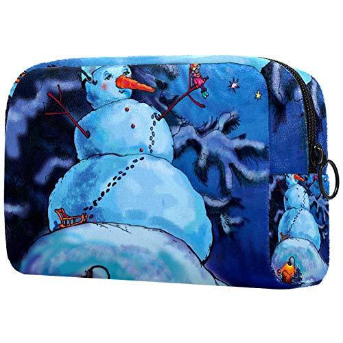 Estuche de Maquillaje Estuche de Viaje Estuche para cosméticos Estuche Monedero Bolso de Mano con Cremallera - Hada Navidad o Año Nuevo con muñeco de Nieve Ratón