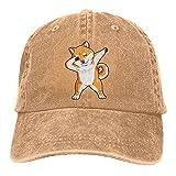 Bokueay Dabbing Doge Shiba Inu Gorra de Mezclilla Deportiva Ajustable Snapback Unisex Liso Sombrero de Vaquero de béisbol Estilo clásico
