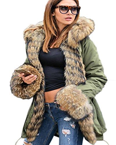 Aofur Womens Hooded Faux Fur Lined Warm Coats Parkas Anoraks Outwear Winter Long Jackets (Small, 201701 Green)