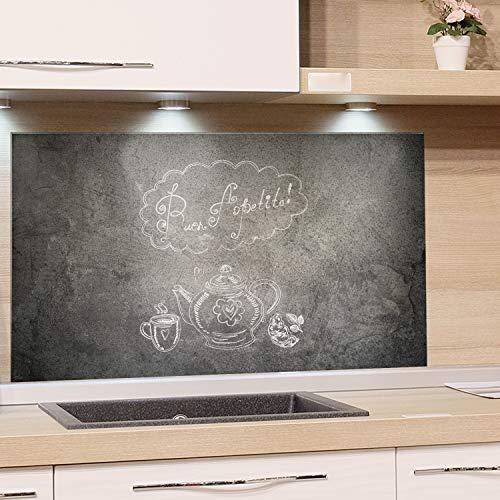 GRAZDesign Küchen-Spritzschutz Glas Grau Küchen Herd Bild-Motiv Spruch auf Steinoptik Granit Guten Appetit - Glasbild als Küchenrückwand - Küchenspiegel / 100x60cm