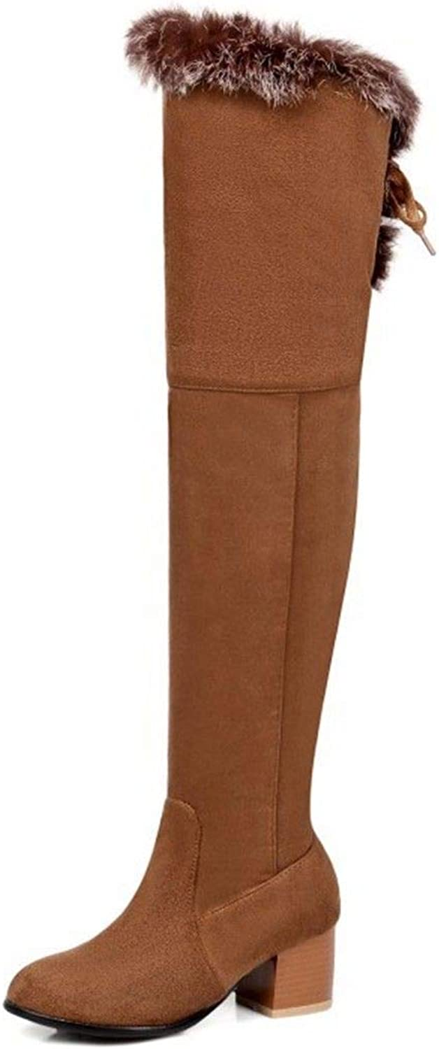 Autumn and Winter Round Side Zipper with coarse Size Suede Boots with MS.