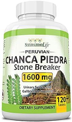 Chanca Piedra 1600 mg - 120 Tablets Kidney Stone Crusher Gallbladder Support Peruvian Chanca Piedra Made in The USA from Naturalisimolife