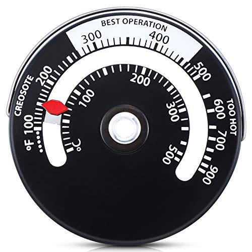 Magnetisches Holz Ofen Thermometer Feuerofen Rohr Thermometer Abgasrohr Temperatur Messer zur Vermeidung von durch Überhitzung Beschädigten Ofenventilatoren (1 Stück)