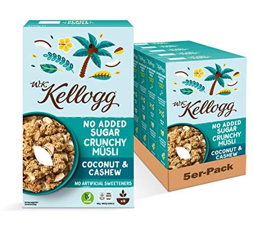 W.K KELLOGG Crunchy Müsli Coconut & Cashew ohne Zuckerzusatz, vegan & palmölfrei, 5er Pack (5 x 400g)