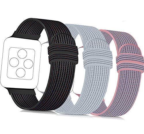 ATOO 3 Pezzi Nylon Cinturino Orologio per Apple Watch 38mm 40mm 42mm 44mm, Leggero Traspirante Cinturino di Ricambio Sportivo per iWatch Series 5 4 3 2 1 (38mm/40mm, Nero Sabbia/Grigio/Rosa)