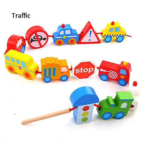 Why Should You Buy Blocks Large Wooden Transportation and Number Blocks 12 Pieces Large Lacing Bead ...