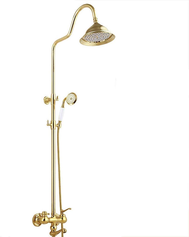 LHW Shower Set chset, europische Retro, Gold, Kupfer, heie und kalte Dusche, Wandhalterung, Sanitrkeramik