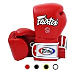 Fairtex Muay Thai Boxing Gloves BGV9 - Heavy Hitter Mexican Style - Minor Change Black with Yellow Piping 12 14 16 oz. Training & Sparring Gloves for Kick Boxing MMA K1 (Red w/White Piping, 16 oz)