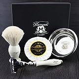 Haryali London Kit de afeitado para hombre, 4 unidades, 3 filos, con cepillo de afeitado de pelo de tejón blanco, jabón y cuenco perfecto para hombres