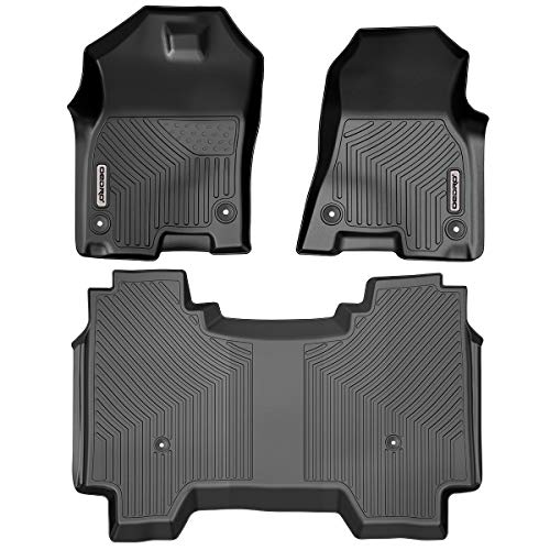 OEDRO Floor Mats Custom Fit for 2019-2021 Dodge Ram 1500 Crew Cab, with 1st Row Bucket Seats, No Rear Under-seat Storage Box, Unique Black TPE All-Weather Guard Includes 1st, 2nd Row Full Set Liners
