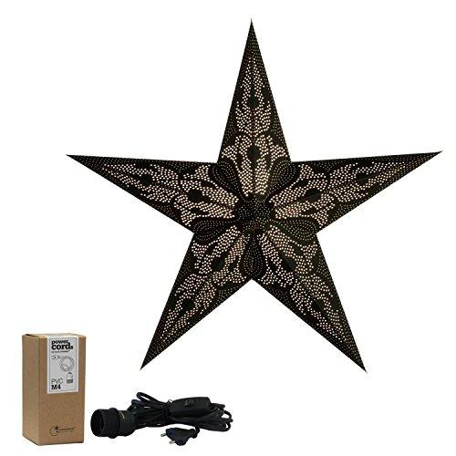 Papieren ster met accessoires, kerstster damacus, vouwsterren met patroon, papieren ster met accessoires, kabel zwart, kerstster decoratieve lamp, raamdecoratie woondecoratie, vouwster cadeau-idee