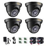 Anlapus 4pcs 1080P Cámara de Vigilancia Exterior Domo Cámara de Seguridad, 20M Visión Nocturna, Negro