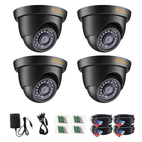 Anlapus 4X 2MP 1080P Außen Dome Überwachungskamera Set mit BNC Kabel und Netzteil, 4-in-1 Kamera mit 20M IR Nachtsicht, HD-CVI/HD-TVI/AHD/960H