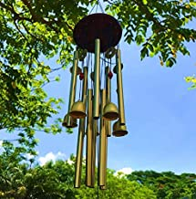 Paradigm Pictures fengshui Items Wind Chimes for Home Garden Decoration Hanging Item (Golden, (5 Bell 10 Tubes))