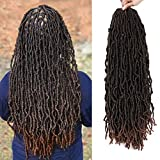 Soft Locs Crochet Braids 18inch Most Natural Faux Locs Crochet Braid 6 Packs/lot Goddess Fiber Synthetic Hair African Roots Hair Extensions (18 Inch-6Packs, T1B/30)