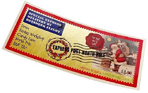 3 sellos navideños para enviarle una carta Papá Noel, diseño autoadhesivo del Polo Norte Express