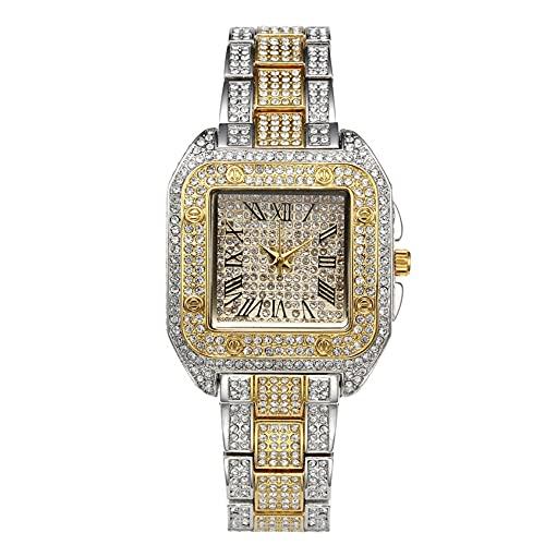 KLFJFD Reloj De Cuarzo Resistente Al Agua con Números Romanos De Diamantes De Imitación Creativos De Lujo Ligero para Mujer Reloj De Regalo Informal A La Moda